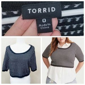 Torrid Black & White Knit Crop Top Sz. 0